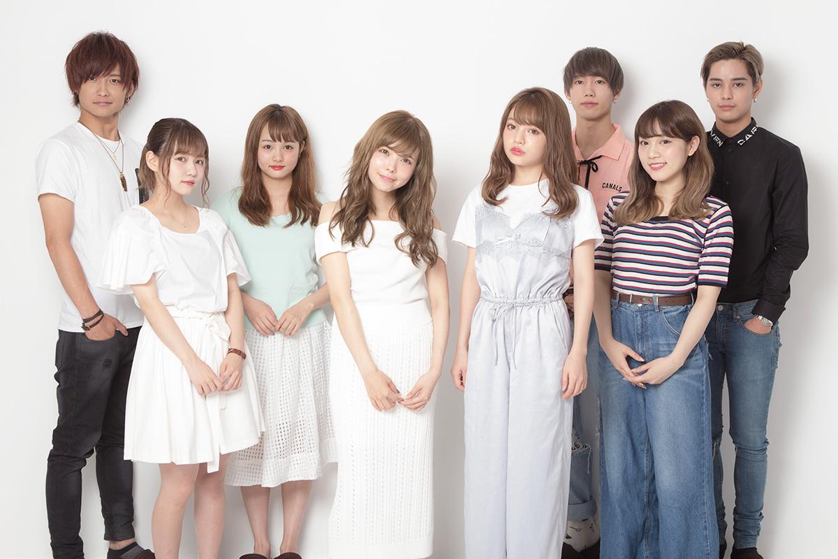 (左から)時人、佐藤ノア、SAKURA、益若つばさ、吉木千沙都(ちぃぽぽ)、志村禎雄、古川優香、バトシン